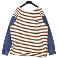 Cheap Stylenanda 2013 Korean Fashion Autumn New Arrival Stripe Embroidery Patchwork Denim Cowboy Sleeve Length Tshirt Womens Autumn Winter