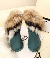 Wholesale 2013 New Fashion Winter Warm High Long Snow Boots Artificial Fox Rabbit Fur Leather Tassel Women Shoes