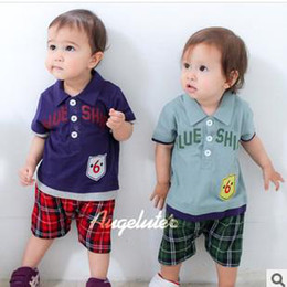 Wholesale New Arrival Kids Jumpsuits Babys Lovely Turn down Collar Short Sleeve Stripe Summer Jumpsuits Baby Clothes Climb
