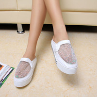 Wholesale New Designer Ladies Slippers Shoes Organza Rhinestone Embellished High Platform Shoes Women Slippers Sandals Youshop2012