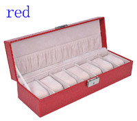 Wholesale authentic Organizer seven watches leather watches boxes of five color watch case box Gift box