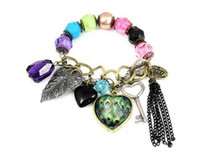 Wholesale Vintage Pearl Heart Charm Bracelets Peacock Leaf Key Colored Pearl Beads Bracelet Bangle Bracelet Jewelry