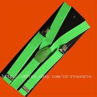 Wholesale Unisex Clip on Braces Elastic Y back Suspenders flashgreen