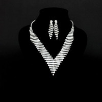 Wholesale Lowest price New Wedding Bridal Crystal Fence Rhinestone Necklace Earrings set