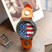 Wholesale dropship hot sale American Flag fashion Genuine Cow Leather quartz watches men women