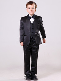 Wholesale Popular Black Polyester Wool Boys Ring Bearer Suits u5 tBc