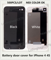 Wholesale 500PCS MIX COLOR White Black Glass Back faceplates shell Housing Rear Battery door cover for iPhone S CDMA GSM By DHL