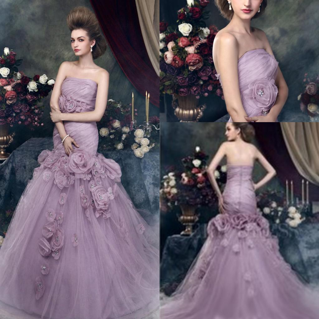 Gorgeous 2014 Romantic Purple Wedding Dresses Strapless