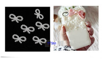 Wholesale Faux Pearl White Bow Flatback Plastic Bead Appliques cell phone scrapbooking DIY MM