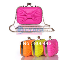 Wholesale 2013 Hot Sale Mini Fashion Candy Color Bowknot Clutch Bags Evening Bags With Chians Small Handbags