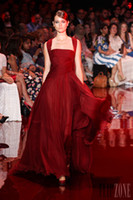 Reference Images Strapless Chiffon Hot New 2014 Elie Saab Wine Red Evening Dresses Ruched Bodice Greek Goddess Style Women Formal Party Gowns Chiffon Custom Made Court Train