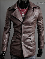 Wholesale New winter the lapel single breasted quality washed PU leather men long leather coat of cultivate one s morality dark brown