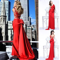 Reference Images One-Shoulder Chiffon Wholesale - New 2014 Tarik Ediz Sexy One Shoulder Red Mermaid Satin Evening Dresses With Applique Back