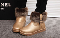 Wholesale 2013 NWT Women s Winter Snow Boots Korean Fashion Fake Fur PU Thicken Short Flat Boots For Girls