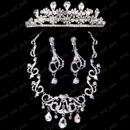 Wholesale New Arrival luxury bridal crown wedding tiara accessories Crystals earring sets chain necklace dress PICTURE COLOR ONLY SS043