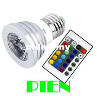 Wholesale RGB LED Bulb W E27 GU10 Color changing Spotlight party home decoration lamp V V Remotecontroller