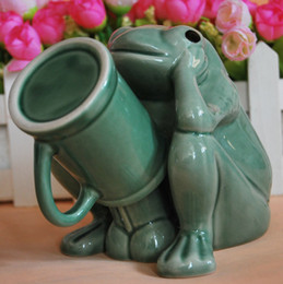 Wholesale Novelty Thinking Frog Coffee Mug Creative Lovers Sexy Porcelain Drinking Cup Mug with Base Wedding Gift Favors SH224