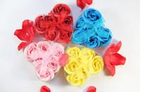 Valentine's Day   300pcs soap flower heart shape handmade rose petals rose flower paper soap mix color(6pcs=1box)