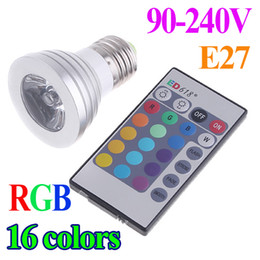 Wholesale 3W E27 AC V IR Remote Control LED Bulb Lamp Color RGB Spotlights spot light H1492