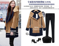 Wholesale Show thin Women s clothing Lambs wool Even the CAP woollen coat CONTRAST COLOR woolen overcoat SIZE S M L XL