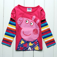 kids clothing Peppa pig pattern girls long coloful striped s...