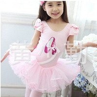 Wholesale Princess Girls Ballet Dancewear Kids Performance Tutu Dress Children Clothing Gauze Lace Yarn Short Sleeve Costume Dressy D0929