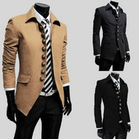 HOT Men's Jacket Men's Trench Coat Woolen Stand- collar Slim ...