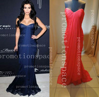 Real Photos Sweetheart Chiffon Navy Blue evening dresses Kim Kardashian Sweetheart Ruffle Floor Length Red Carpet Celebrity Dresses BO3015 (get 1 bracelet for free)