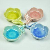 Wholesale 85 mm Colorful Flower MINI Ceramics Plates Cute Seasoning Dishes Home Decoration DC667