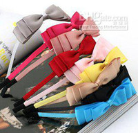 Wholesale Fashion hair accessories Lovely and lively three Layer Silk Bow Hair bands Headband headwear free