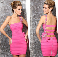 Wholesale 2014 Sexy Cute One Shoulder Sheath Short Bandage Taffeta Tarik Ediz Prom Evening Cocktail Dresses With Beaded Hand Working By Tarik Ediz