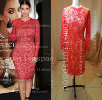 Real Photos Crew Lace Custom Made 2014 Sexy kim kardashian Long Sleeve High Neck Red Lace Evening Dresses Knee Length kk11 (get 1 bracelet for free)