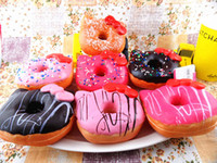 Wholesale 10cm Kawaii Hello Kity Doughnut Pendant Squishies Jumbo Donut Bag Charm Keychain for Phone Large Rare Squishy Bread