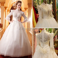 Wholesale Hot Sale Ball Gown Wedding Dresses White Tulle High Neck Lace Covered See Through Backless Long Sleeve Blink Beading Gorgeous Bridal Gowns