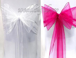 Wholesale 100PCS Mixed Colours White Fuchsia Wedding Anniversary Party Banquet Bows Chair Organza Sash Decorations Supplies