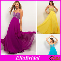 Reference Images Sweetheart Chiffon High Quality Purple Aqua Yellow White Chiffon Empire Waist Sweetheart Beaded Prom Dresses Evening Party Dress Special Occassion Gowns 9587