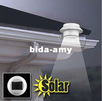 Wholesale 3 LED Solar Powered Fence Gutter Light Wall Lobby Pathway Garden Lamp White warm white New