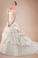 A-Line Reference Images Strapless Latest Hot Selling Exquisite Charming A-Line Strapless Sweep Train Lace up Pleats Applique Stretch Satin Wedding Dresses