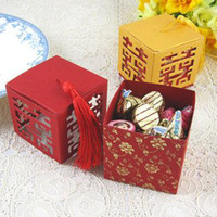 Favor Boxes Pink Paper Free shipping of our candy packing (50pcs lot)New Double Happiness in four side wedding favor Box