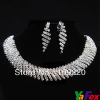 Wholesale Most Popular Graceful Wedding Bridal Bridesmaid Party Rhinestone Necklace Earring set WA136