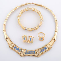 Wholesale Newest Design Collar Necklace Fashion Jewelry Blue Crystal Bracelet For Women Choker Necklaces A067