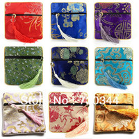 Wholesale Jewelry Drawstring Bags Chinese Silk Embroidery Packaging bags Mix Color cm sold by