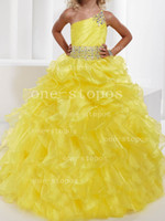 Wholesale 2014 Hot One Shoulder Yellow Organza Sash Beaded Flowers Formal Dresses Girl s Pageant Gowns