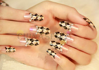 Wholesale 3D set lattice beauty nail accessories optional acrylic nail art false fake nail tips long nail stickers bridal nail with glue