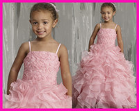 Wholesale Lovely Pink Ruffles Organza Floral Full Length Ball Gown Flower Girl First Communion Dress F592
