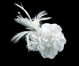 Wholesale 2015 New Beautiful Wedding Bridal Tiaras Hair Accessories Red White Head Flower Feather wedding tiaras crowns