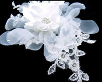 Clip & Pin Silk Flower  2015 Beautiful Wedding Crystal Bridal Tiaras Hair Accessories White Head Flower new arrival hot sale Accessory