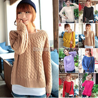 Wholesale 2013 New Womens Chunky Cable Knitted Crew Neck Long Sleeve Tops Jumper Knitwear Sweater ax284