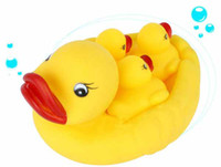Bath Toys Animals 2 Years Baby Bathing Developmental Toys Water Floating Squeaky Yellow Rubber Ducks #90202