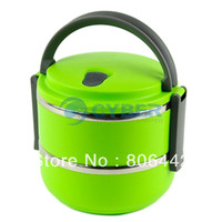 Ceramic Dinnerware Sets 15038# Double Layer Stainless Steel Children Lunch Box 1.4L Keep Warm Food Container For Kids Green 15038